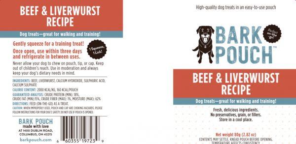 80-gram Beef & Liverwurst Bark Pouch Dog Treat label