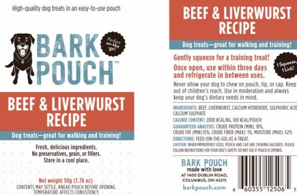 50-gram Beef & Liverwurst Bark Pouch Dog Treat label