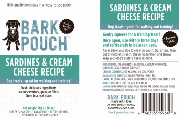 50-gram Sardines & Cream Cheese Bark Pouch dog treat label