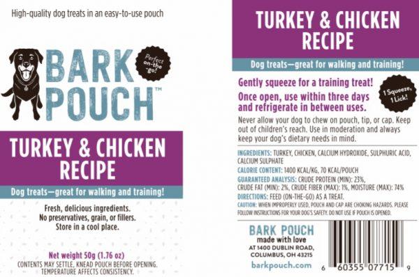 50-gram Turkey & Chicken Bark Pouch dog treat label
