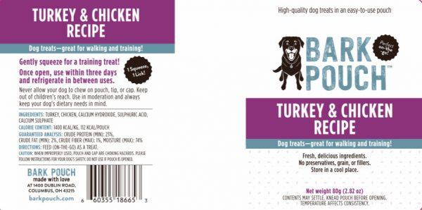 80-gram Turkey & Chicken Bark Pouch dog treat label