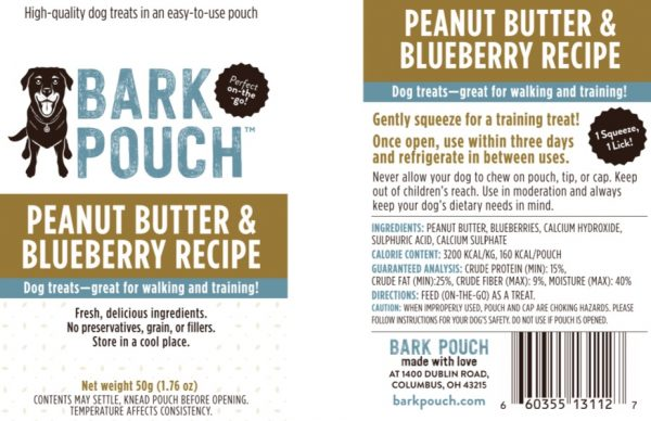 50-gram Peanut Butter & Blueberry Bark Pouch dog treat label