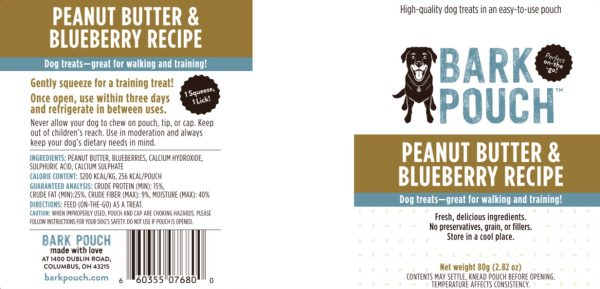 80-gram Peanut Butter & Blueberry Bark Pouch dog treat label